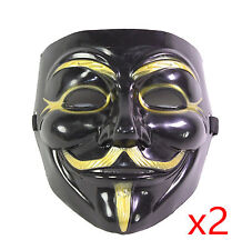 2 Black V for Vendetta Guy Fawkes Anonymous Costume Halloween Cosplay Masks