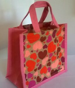 Hearts Jute Little Lunch Bag 25cm x 22cm x 14.5cm