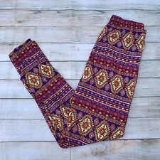Multi-Color Geometric Design Women's Leggings OS One Size 2-12 Soft as LLR