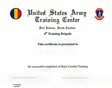 US Army Basic Combat 4th Training Brigade Certificate Ft Jackson, SC