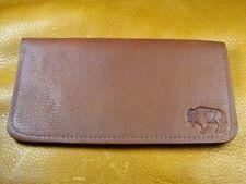 Light Brown Bison BUFFALO LEATHER Checkbook Wallet handcrafted disabled Vet 5040