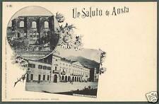 AOSTA CITTÀ 08 SALUTI da... VEDUTINE Cartolina tipo GRUSS primi '900