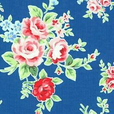 Cottage Shabby Chic Lecien Flower Sugar Floral Fabric 30841L-77 Blue BTY