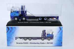 Atlas Editions 1/76 Scale Scania R420 Flatbed with crane in Eddie Stobart Colour