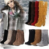 Women Rivet Fringe Hidden Wedge Moccasin Ankle Boots Tassel Flat Shoes Plus Size
