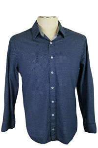 Nick Graham Everywhere Stretch Modern Fit Men's L 16-16.5 34-35 L/S Blue Shirt