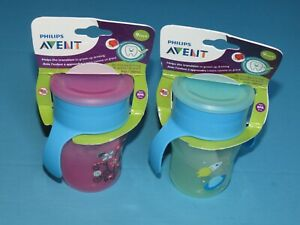 w3 Philips Avent Natural Drinking Cup 9 oz Stage 4 1 Pink/1 Green Pack of 2
