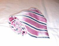 Brooks Brothers Golden Fleece Mens Necktie Tie Pink Blue Striped 100% Silk USA