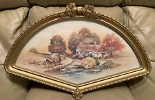 Vtg '84 Homco Home Interiors Fall Scene Farm Harvest Fan Shaped Wall Plaque 3250