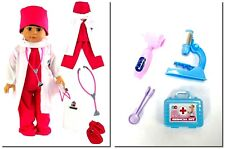 "Doctor Scrub11 PC Set Pink+ Accessories 18"" Doll Clothes For American Girl Doll"
