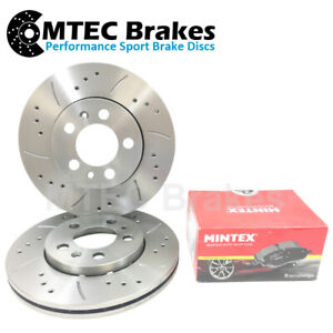 BMW 3 Touring E46 320d 01-05 Front Brake Discs and Mintex Pads Drilled Grooved