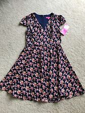 NEW NWT Betsey Johnson pretty dress short sleeves 14 L LARGE back zipper floral