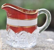 Souvenir Ruby Flash Glass Helen Flynn 1915 Etched Small Toothpick Holder