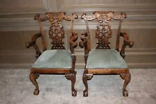 10 Mahogany Mid 19th Century English Chippendale Dining Chairs