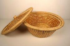 Vintage Wicker Woven Round Storage Basket - Boho Mid Century