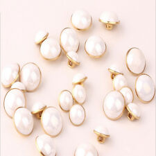 Hotsale 100PCS Creamy White Pearl Metal Shank Buttons Sewing Craft 10mm