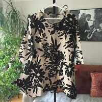 CONTEXT Lord & Taylor L / XL Beige & Black Floral Linen Blend Lagenlook Tunic