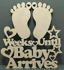 S173 UNTIL BABY COUNTDOWN CALENDAR MDF Wall Sign Quote Laser Cut Wooden Craft