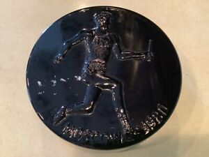 VINTAGE 1980 MOSCOW OLYMPICS PAPER WEIGHT IMPERIAL LENOX GLASS IN ORIG BOX