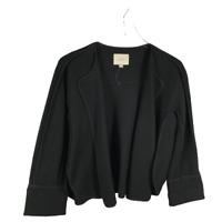 Ann Taylor LOFT Wool Blend Blazer Size Small Black Open Front 3/4 Sleeve Jacket