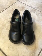 BOC BORN Black Leather Nursing Clogs Work Shoes Womens Size 7-1/2 Heel Comfort