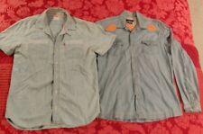 2 Levis Short Sleeve + Zara Western American Motif Long Sleeve Mens Denim Shirts