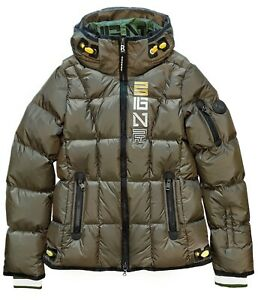 Bogner Giana-D Women's Hooded Ripstop Down Ski Jacket Puffer Olive Size 10 / M L