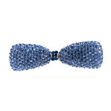 Hand Made Hair Jewelry swarovski crystal Bowtie Barrette, Blue Rhinestone