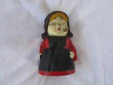Cast Iron Still Penny Coin Bank Amish Girl Lady Farm Quaker Mennonite Church Red