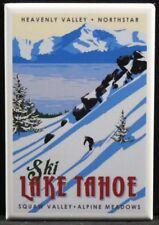 "Ski Lake Tahoe Vintage Travel Poster 2"" X 3"" Fridge Magnet. Nevada California"