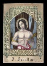 santino incisione 1800 S.SEBASTIANO M. dip. a mano