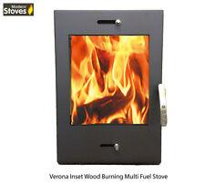 Verona Inset Cassette Stove 12kw Wood Burning Multi Fuel Burner Modern Stoves