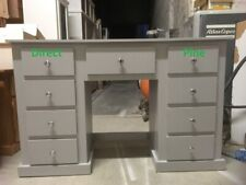 AYLESBURY 9 DRAWER DOUBLE DRESSING TABLE GREY WITH CHROME HANDLES