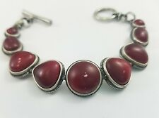 Lucky Brand Silver Red Stone Toggle Clasp Bracelet Double Coral