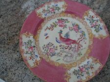 Vintage Birks Mintons Plate Pink Smooth Gold Peacock Cockatrice Minton Phoenix