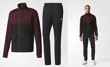 new adidas BACK 2 BASICS TRACK SUIT black burgundy S & XL Jacket Pants tracksuit