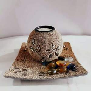 Sri Lankan Handmade 100% Sand Candle Holder With Crystals For Home Decor