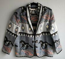 Southwest Aztec Horse Equestrian Tapestry Jacket Blue Flashback Womens Small Euc