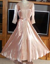 Vintage Bias Cut Silk Liquid Satin Pink Dressing Gown Robe Tambour Lace sz40