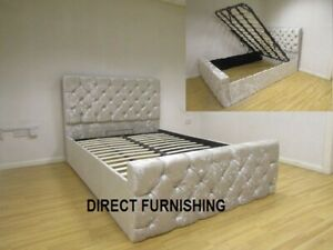 Crushed Velvet Ottoman Bed, Storage Bed, Chesterfield Bed with Storage All Sizes