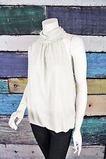 NEW Catherine Malandrino White Silver Metallic Knit Halter Top Shirt LARGE L