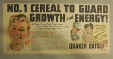 "Quaker Cereal Ad: ""Guard Growth and Energy! from 1940's Size: 7.5 x 15 inches"