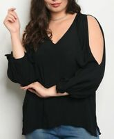 Black SIZE 2X Womens Plus SHIRT TOP Cold Shoulder 3/4 SLEEVES Very J NWT NEW