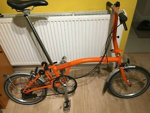 Brompton S2L 2016, orange, very good condition. Global shipping.