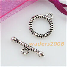 12 New Connectors Necklace Round Circle Toggle Clasps Tibetan Silver