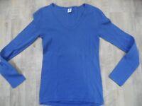 PETIT BATEAU Basic V-Ausschnitt Langarmshirt blau Gr. 16 J TOP StH218