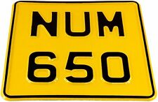 6.5x6.5 SMALL 6Digit Motorbike Motorcycle Aluminium  PRESSED Number Plate+Fixers