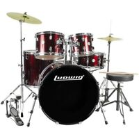 New Ludwig LC175 Accent Drive 5-Piece Complete Drum Set with Cymbals, Wine Red