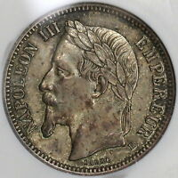 1870-BB NGC AU 50 France 1  Franc Napoleon III Key Date Silver Coin (18122902C)