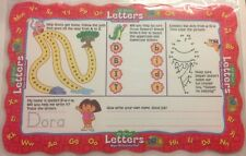 (6) Dora the Explorer all about letters Activity Wipe Off Mat Writing Markers